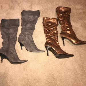 2 pairs of women's heeled boots